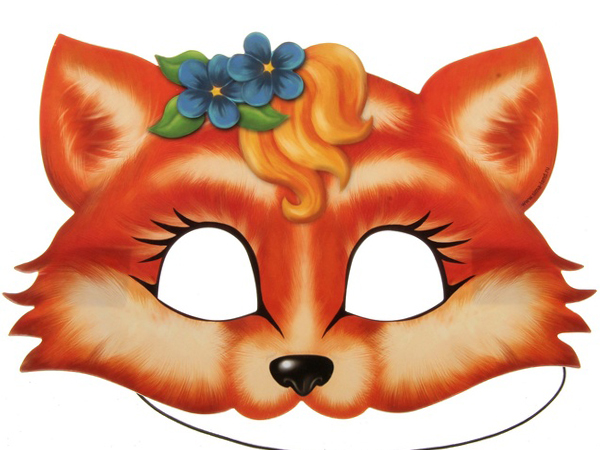 Маска лисички на голову распечатать раскраска